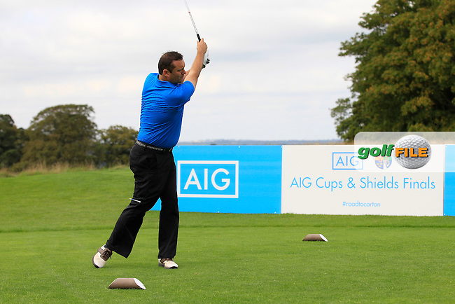 Leo Hassett (Lisselan) on the 10th tee during the AIG Jimmy Bruen Shield Final between Lisselan &amp; Waterford in the AIG Cups &amp; Shields at Carton House on Saturday 20th September 2014.<br /> Picture:  Thos Caffrey / www.golffile.ie