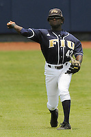 11 May 2008: Florida International center fielder Lammar Guy (42) throws back to the infield in the second inning of the FIU 7-4 victory over South Alabama at University Park Stadium in Miami, Florida.