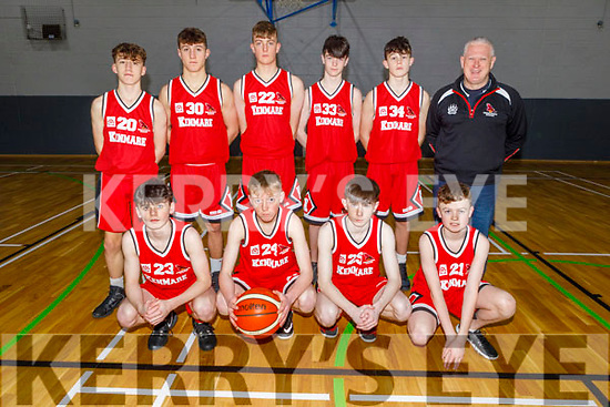 The Kenmare U16 boys basketball team that played Caherciveen in the U16 Division 2 Plate final in the Tralee Sports Complex on Sunday.<br /> Kneeling: darren Alman, Dylan Wallace, Luke Scanlon and Timmy O'Donoghue.<br /> Standing l to r:  Ciaran Crowley, Aidan Crowley, Tommy O'Sullivan, John O'Sullivan, Conor Adams and Coach John Adams.