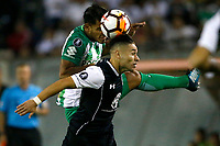 SANTIAGO DE CHILE - CHILE - 27 - 02 - 2018: Oscar Opazo (Der.) jugador de Colo Colo (CHL) anota gol a Daniel Delgado (Cent.) portero de Atletico Nacional (COL), durante partido de la Fase de Grupos, grupo 2, fecha 1 entre Colo Colo (CHL) y Atletico Nacional (COL), por la Copa Conmebol Libertadores 2018 en el estadio Monumental David Arellano, de la ciudad de Santiago de Chile. / Oscar Opazo (R) player of Colo Colo (CHL) scored a goal to Daniel Delgado (L) goalkeeper of Atletico Nacional (COL), during match of the Group Stage, group 2, 1st date between Colo Colo (CHL) and Atletico Nacional (COL) for Copa Conmebol Libertadores 2018 at the David Arellano Monumental Stadium, in the city of Santiago de Chile. Photos: VizzorImage / Andres Pina / Cont. / Photosport