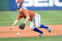 Durham Bulls third baseman Robby Price (6) diving attempt on a hit down the line during a game against the Buffalo Bisons on July 10, 2014 at Coca-Cola Field in Buffalo, New  York.  Durham defeated Buffalo 3-2.  (Mike Janes/Four Seam Images)