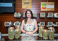 Owner of the Live Green cannabis dispensary, Brooke Gehring (cq), at one of the companies dispensaries in Denver, Colorado, Sunday, July 20, 2014. <br /> <br /> Photo by Matt Nager