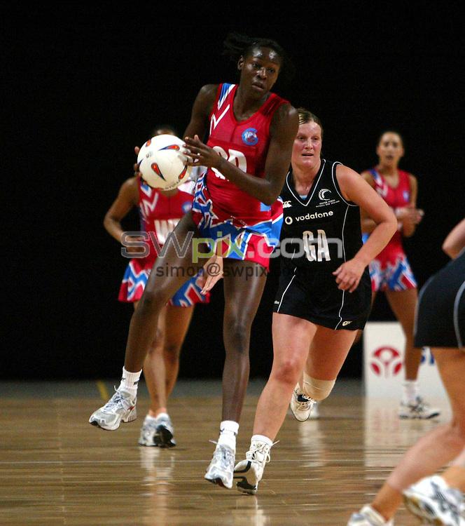Pix: Simon Wilkinson/SWpix.com. International Netball. England v New Zealand. Test Series 2003. MEN Arena. Manchester. 24/02/03..COPYRIGHT PICTURE>>SIMON WILKINSON>>01943 436649>>..England's Sonia Mkoloma