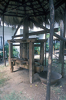 Sixteenth century sugarcane press or trapiche, Museum iof History and Geography, Santo Domingo, Dominican Republic