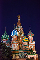 Russia, Moscow, Red Square at night. St. Basil's Cathedral.