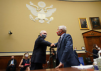 United States House Minority Whip Steve Scalise (Republican of Louisiana), elbow bumps Dr. Anthony Fauci, director of the National Institute for Allergy and Infectious Diseases, before testimony at a US House Subcommittee on the Coronavirus Crisis hearing on a national plan to contain the COVID-19 pandemic, on Capitol Hill in Washington, DC on Friday, July 31, 2020.  <br /> Credit: Kevin Dietsch / Pool via CNP /MediaPunch