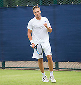 June 10th 2017,  Nottingham, England; ATP Aegon Nottingham Open Tennis Tournament day 1; Fist pump from Lloyd Glasspool of Great Britain as he wins the final point in his match against Neil Pauffley also of Great Britain