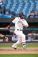Syracuse Chiefs center fielder Brian Goodwin (15) at bat during a game against the Louisville Bats on June 6, 2016 at NBT Bank Stadium in Syracuse, New York.  Syracuse defeated Louisville 3-1.  (Mike Janes/Four Seam Images)