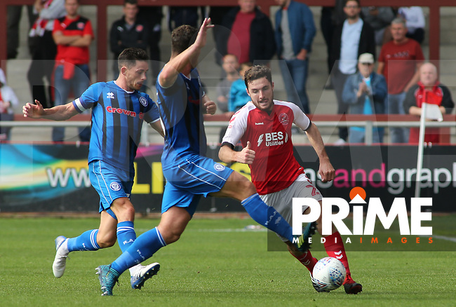 Lewis Coyle of Fleetwood Town on the attack against Rochdale AFC during the Sky Bet League 1 match between Fleetwood Town and Rochdale at Highbury Stadium, Fleetwood, England on 18 August 2018. Photo by Stephen Gaunt / PRiME Media Images.