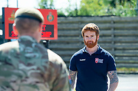 Picture by Allan McKenzie/SWpix.com - 14/06/2018 - Commercial - Rugby League - Rugby League World Cup 2021 Ambassador Unveil, Marne Barracks, Catterick, England - James Simpson with some of his old colleages on the base at Marne Barracks in Catterick.