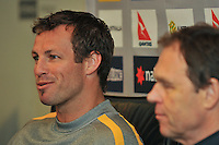 MELBOURNE, AUSTRALIA, 6 JUNE - Lucas Neill (captain) and Holger Osieck (manager) at the Australian Socceroos press conference and training session ahead of an international friendly with Serbia at Etihad Stadium on June 6, 2011 in Melbourne, Australia. Photo by Sydney Low / AsteriskImages.com