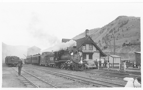RGS #20 with Rocky Club special in front of Rico depot.<br /> RGS  Rico, CO  Taken by Maxwell, John W. - 5/30/1947