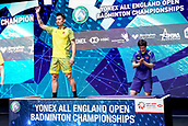 18th March 2018, Arena Birmingham, Birmingham, England; Yonex All England Open Badminton Championships; Lin Dan (CHN) ireceives the runner-up prize n the mens singles  final against Shi Yuqi (CHN)
