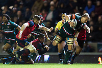 Luke Hamilton of Leicester Tigers takes on the Munster Rugby defence. European Rugby Champions Cup match, between Leicester Tigers and Munster Rugby on December 17, 2017 at Welford Road in Leicester, England. Photo by: Patrick Khachfe / JMP