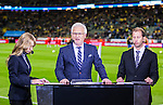 Solna 2015-09-08 Fotboll EM-kval , Sverige - &Ouml;sterrike :  <br /> Kanal 5 Hasse Backe i TV-studion inf&ouml;r matchen mellan Sverige och &Ouml;sterrike <br /> (Photo: Kenta J&ouml;nsson) Keywords:  Sweden Sverige Solna Stockholm Friends Arena EM Kval EM-kval UEFA Euro European 2016 Qualifying Group Grupp G &Ouml;sterrike Austria TV Tv-k&auml;ndis portr&auml;tt portrait