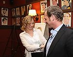 """Uma Thurman and Josh Lucas from the cast of """"The Parisian Woman"""" honored with a Sardi's Wall of Fame Portrait on February 28, 2018 at Sardi's in New York City."""
