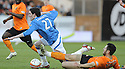 14/04/2010   Copyright  Pic : James Stewart.sct_jsp03_dundee_utd_v_rangers  .::  KYLE LAFFERTY IS BROUGHT DOWN BY MIHAEL KOVACEVIC ::  .James Stewart Photography 19 Carronlea Drive, Falkirk. FK2 8DN      Vat Reg No. 607 6932 25.Telephone      : +44 (0)1324 570291 .Mobile              : +44 (0)7721 416997.E-mail  :  jim@jspa.co.uk.If you require further information then contact Jim Stewart on any of the numbers above.........