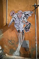 L'opera dell'artista di strada Mauro Pallotta che ritrae Papa Francesco nelle vesti di un supereroe. A graffiti featuring a 'superhero' version of Pope Francis appears in Borgo Pio, next to St. Peter's Square  in Rome. The image started circulating from the twitter account of the Vatican and has rapidly spread around the world.