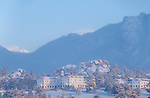 Stanley Hotel, winter, morning, snow, Rocky Mountains, Estes Park, Colorado