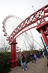 The Ferris Wheel on Navy Pier on a foggy day, Chicago, IL, USA