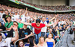 Stockholm 2014-05-24 Fotboll Superettan Hammarby IF - Varbergs BoIS FC  :  <br /> Hammarbys supportrar jublar<br /> (Foto: Kenta J&ouml;nsson) Nyckelord:  Superettan Tele2 Arena HIF Bajen Varberg BoIS jubel gl&auml;dje lycka glad happy supporter fans publik supporters