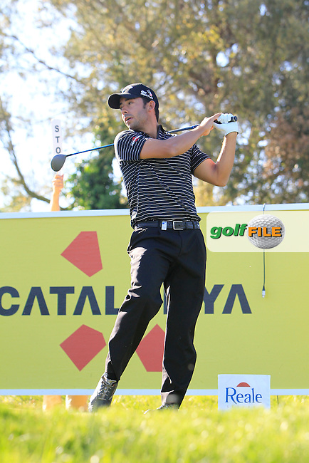 Pablo Larrazabal (ESP) on the 13th tee lets rip at a spectator who clicked at the top of his back swing during Thursday's Round 1 of The Open De Espana at The PGA Catalunya Resort. 15th May 2014.<br /> Picture:  Thos Caffrey / www.golffile.ie
