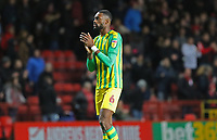 Semi Ajayi of West Bromwich Albion thanks the West Bromwich Albion fans during Charlton Athletic vs West Bromwich Albion, Sky Bet EFL Championship Football at The Valley on 11th January 2020