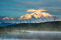 Early morning sunrise on Denali and Wonder Lake, Denali National Park, Interior, Alaska.