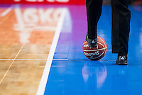 Referee taking the ball during match of Liga Endesa at Barclaycard Center in Madrid. September 30, Spain. 2016. (ALTERPHOTOS/BorjaB.Hojas) /NORTEPHOTO.COM