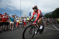 Thomas De Gendt (BEL/Lotto-Soudal) after finishing <br /> <br /> stage 1 prologue: Utrecht (13.8km)<br /> Tour de France 2015