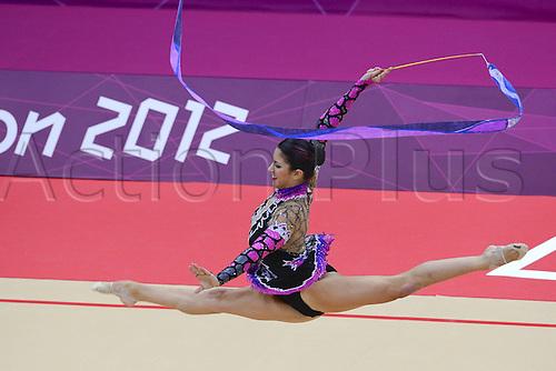 10.08.2012. London, England. Julie Zetlin USA Ribbon Rythmic Gymnastcis 2012 London Olympic Games.