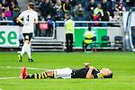 Solna 2015-04-26 Fotboll Allsvenskan AIK - &Ouml;rebro SK :  <br /> AIK:s Nabil Bahoui har f&aring;tt kramp och dr&ouml;jer sig kvar p&aring; planen under matchen mellan AIK och &Ouml;rebro SK <br /> (Foto: Kenta J&ouml;nsson) Nyckelord:  AIK Gnaget Friends Arena Allsvenskan &Ouml;rebro &Ouml;SK skada skadan ont sm&auml;rta injury pain