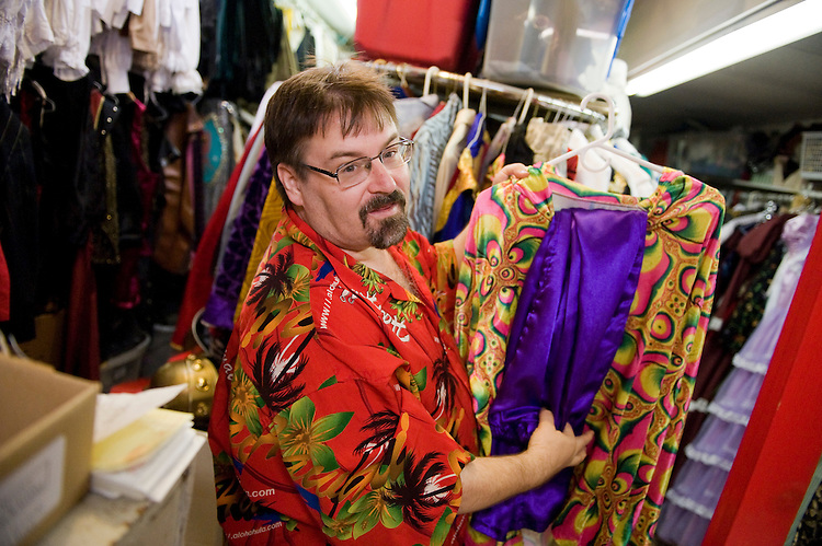 UNITED STATES - AUGUST 04:  Rip Claassen, manager of Backstage, Inc. costume shop, talks about garb in stock at the establishment's 8th St. SE., location.  (Photo By Tom Williams/Roll Call)
