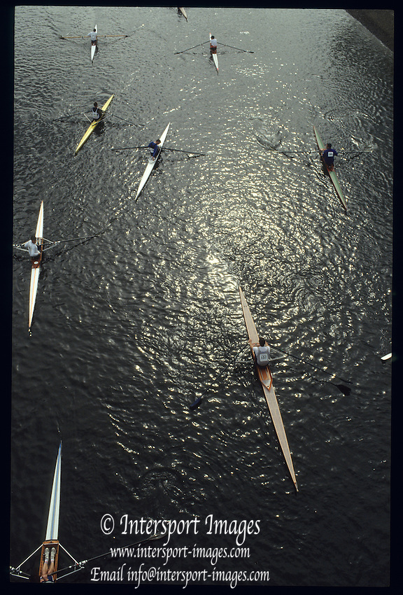 Chiswick, London,  Scullers at the start of the 1991 Scullers Head of the River Race, Scullers' mashalling by Chiswick Bridge, raced over the reversed Championship, Mortlake to Putney  [Mandatory Credit. Peter Spurrier/Intersport Images] 1991 Scullers Head of the River Race, London