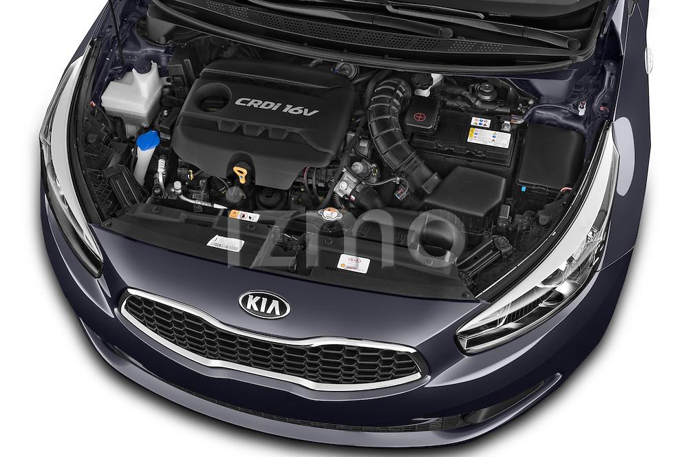 Car Stock 2014 KIA cee'd Access 5 Door Wagon 2WD Engine high angle detail view