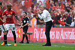 A Frustrated Manchester United Manager Jose Mourinho during the FA cup semi-final match at Wembley Stadium, London. Picture date 21st April, 2018. Picture credit should read: Robin Parker/Sportimage