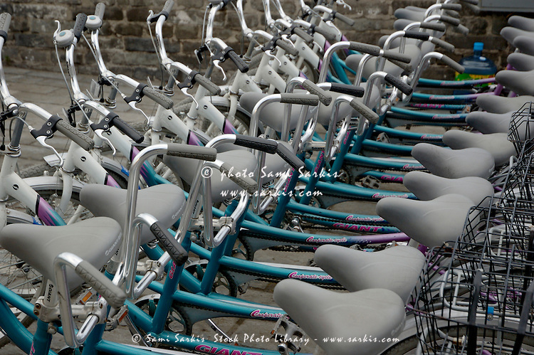 Tandem bicycles lined up in an orderly row, Xian, Shanxi, China.