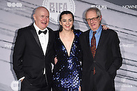 Paul Laverty, Hayley Squires and Ken Loach<br /> at the British Independent Film Awards 2016, Old Billingsgate, London.<br /> <br /> <br /> ©Ash Knotek  D3209  04/12/2016
