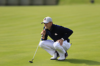 Jordan Spieth Team USA on the 18th green during Friday's Fourball Matches at the 2018 Ryder Cup, Le Golf National, Iles-de-France, France. 28/09/2018.<br /> Picture Eoin Clarke / Golffile.ie<br /> <br /> All photo usage must carry mandatory copyright credit (© Golffile | Eoin Clarke)