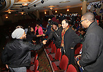 Grasan Kingsberry with cast members of 'The Color Purple' host a meet and greet with kids from PAL at The Jacobs Theatre on December 7, 2016 in New York City.