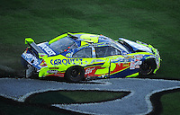 Nov. 1, 2009; Talladega, AL, USA; NASCAR Sprint Cup Series driver Mark Martin after crashing during the Amp Energy 500 at the Talladega Superspeedway. Mandatory Credit: Mark J. Rebilas-