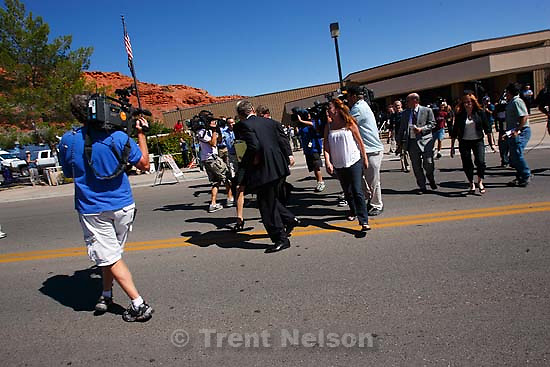 St. George - Warren Jeffs trial. The polygamous sect leader was charged with two counts of rape as an accomplice stemming from a marriage he officiated involving a 14-year-old girl and her 19-year-old cousin. defense attorneys tara isaacson, walter bugden, richard wright leave the court after guilty verdict.