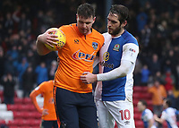 Oldham Athletic's Anthony Gerrard keeps the ball away from Blackburn Rovers' Danny Graham after the equalising goal<br /> <br /> Photographer Rachel Holborn/CameraSport<br /> <br /> The EFL Sky Bet League One - Blackburn Rovers v Oldham Athletic - Saturday 10th February 2018 - Ewood Park - Blackburn<br /> <br /> World Copyright &copy; 2018 CameraSport. All rights reserved. 43 Linden Ave. Countesthorpe. Leicester. England. LE8 5PG - Tel: +44 (0) 116 277 4147 - admin@camerasport.com - www.camerasport.com