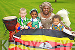Pictured at ' Africa Day in the CBS primary' on Friday. Colm Browne, Shannon Oba, Theresa Oba(parent) and Teghan Welch.