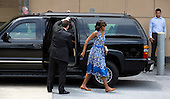 First lady Michelle Obama walks into the Strathmore Music Center in Bethesda, Maryland, on Sunday, June 16, 2013. The Obama's were attending a dance performance with where their daughter Sasha was performing. <br /> Credit: Joshua Roberts / Pool via CNP