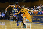08 November 2015: Saint Leo's Chachi Guzman (5) and Duke's Kyra Lambert (15). The Duke University Blue Devils hosted the Saint Leo University Lions at Cameron Indoor Stadium in Durham, North Carolina in a 2015-16 NCAA Women's Basketball Exhibition game. Duke won the game 116-33.