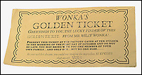 BNPS.co.uk (01202 558833)<br /> Pic: CatherineSouthon/BNPS<br /> <br /> One of the five golden tickets used in the film Willy Wonka & The Chocolate Factory has sold for just over £16,000.<br /> <br /> The shiny slip of foil paper was the one English brat Veruca Salt 'found' after her wealthy father got his factory work-force to open thousands of Wonka chocolate bars.<br /> <br /> After filming had finished actress Julie Dawn Cole, who played selfish Veruca in the 1971 movie, kept hold of the 5ins by 7ins golden ticket.<br />  <br /> Julie later gifted it and a fake Wonka chocolate bar to her friend Lindy Sellers.