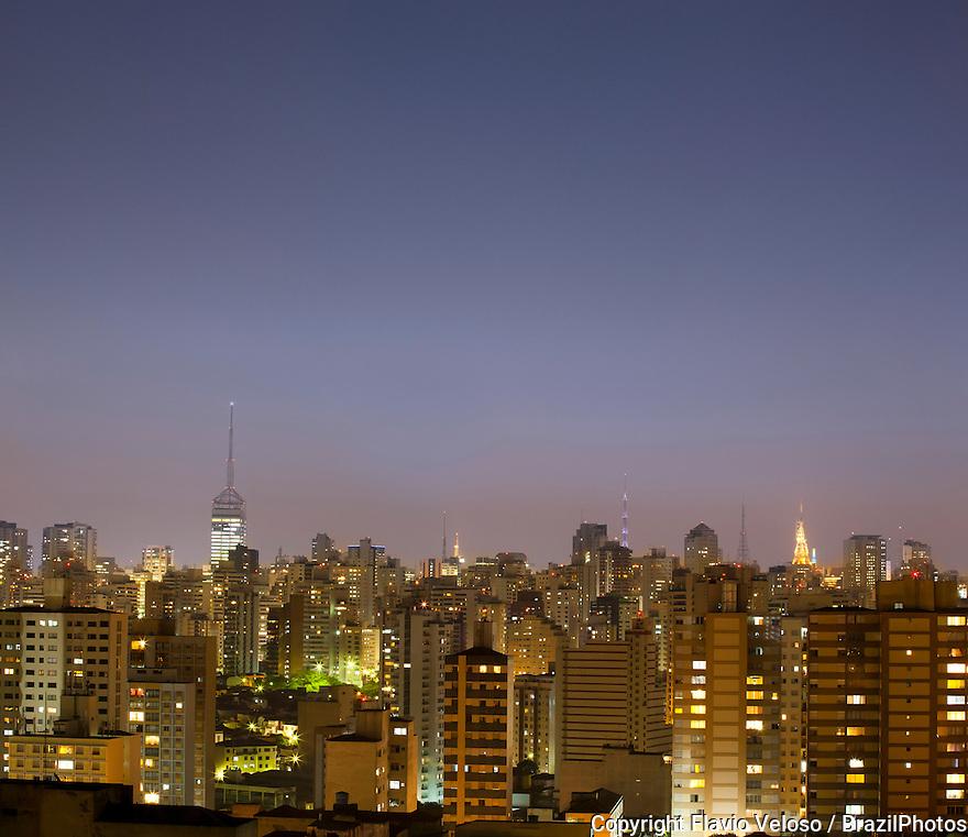Sao Paulo cityscape at dusk, city lights, Brazil.
