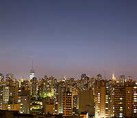 Sao Paulo cityscape at dusk, city lights, Brazil.