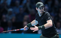 Andy Murray (GBR)(1) action against Stan Wawrinka (SUI)(3) in their John McEnroe  Group  match during Day Six of the Barclays ATP World Tour Finals 2016 played at The O2 Arena, London on November 18th  2016